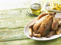 Hähnchen auf mediterrane Art mit Zitrone, Thymian und Olivenöl Rezept