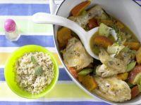 Hähnchen – geschmort mit Kürbis Rezept