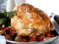 Hähnchen mit Gemüse aus dem Ofen Rezept