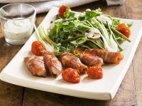 Hähnchen-Schinken-Wickel mit Blattsalat Rezept