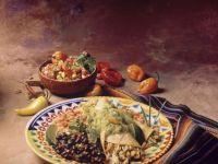 Hähnchen-Tortillarolle mit Bohnen Rezept