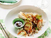 Hähnchenbrust mit Ingwersauce auf Reis