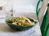 Hähnchenbrust mit Nudeln und Erbsen Rezept