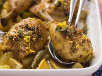 Hähnchenkeule auf orientalische Art mit gebackenen Kartoffeln Rezept