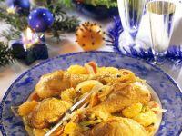 Hähnchenschenkel mit fruchtigem Lauchgemüse Rezept