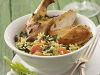 Hähnchenschlegel mit Spinat-Reis Rezept