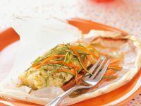 Heilbutt mit Gemüse im Pergamentpapier gegart Rezept