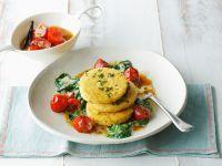 Hirsebratlinge mit Spinat und Tomaten Rezept