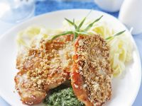 Hühnchen in Sesampanade mit Nudeln Rezept