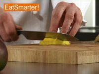 Wie Sie Mangofruchtfleisch ganz einfach in dicke Spalten schneiden