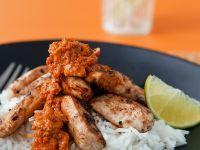 Indisches Hühnchen mit Mangosoße und Reis