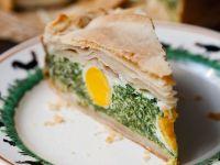 Italienische Ostertorte mit Spinat und Eiern Rezept