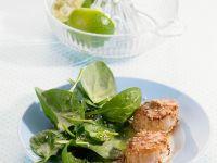 Jakobsmuscheln im Sesammantel mit Spinatsalat Rezept