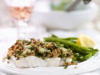 Kabeljau mit Kräuterkruste und grünen Bohnen Rezept
