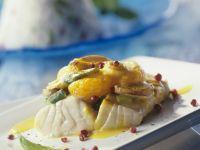 Kabeljau mit Mandarinen-Champignon-Haube Rezept