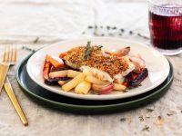 Kabeljau mit Senf-Mandel-Kruste und Ofengemüse Rezept
