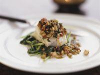 Kabeljau mit Shrimps auf Spinat Rezept