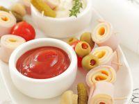 Käse-Schinken-Häppchen mit Dips Rezept
