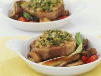 Kalbsfilet mit Kräuterkruste und Gemüse Rezept