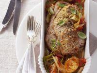 Kalbsschnitzel mit Grießschnitten und Gemüse Rezept