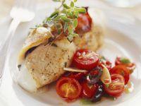 Kalbsschnitzel mit Mozzarellafüllung und Kirschtomaten Rezept