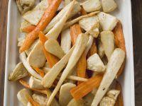 Karotten, Pastinaken und Sellerie aus dem Ofen Rezept
