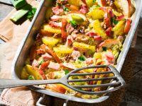 Kartoffel-Kassler-Auflauf mit Äpfeln und Nüssen Rezept