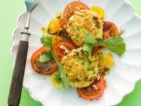 Kartoffel-Spargelpuffer mit Tomaten