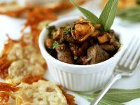 Kartoffelpuffer mit Pilz-Hähnchenleber-Ragout Rezept