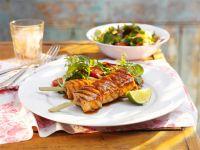 Kebab mit Lachs und Teriyaki-Marinade