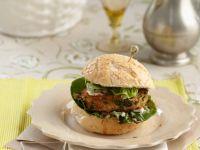Kichererbsen-Burger mit Spinat und Blauschimmelkäse Rezept