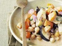 Kichererbsen und Auberginen in Kokos-Curry-Sauce Rezept