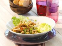 Kichererbsensalat mit Sesam-Hähnchenbrust Rezept