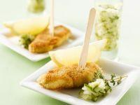 Kleine Schnitzel mit Gurken-Dip Rezept