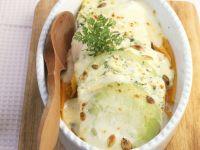 Kohlrabi-Karotten-Auflauf mit Käse und Kerbel überbacken Rezept