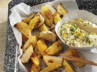 Kohlrabi- und Kartoffelecken mit Maissalat