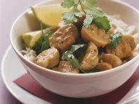 Kokos-Champignons auf Reis Rezept