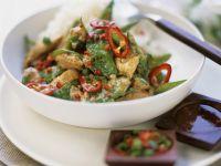 Kokos-Hähnchen mit Curry und Zuckerschoten Rezept
