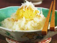 Kokosklebreis mit Mungobohnenpüree Rezept