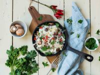 Konjak-Nudeln mit Mascarpone-Pilz-Sauce Rezept