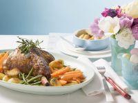 Kräuter-Lammhaxe mit Gemüse Rezept