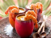 Kürbissuppe mit Kokosgarnelen Rezept