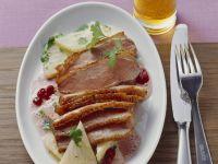 Kurz gebratene Entenbrust mit Sellerie und Preiselbeeren Rezept