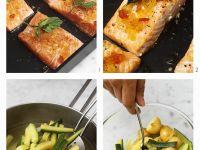 Lachs mit Senffrüchten & Zucchini-Kartoffel-Gemüse zubereiten Rezept