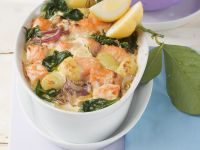 Lachs-Spinat-Gratin