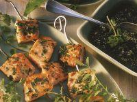 Lachsspieße mit Kräutersauce Rezept