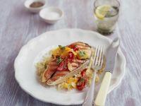 Lachssteak mit Paprika und zitronigem Couscous Rezept