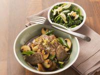 Lamm mit Champignons und Spinat Rezept