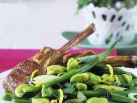 Lammkotelett mit Bohnensalat und Limettenvinaigrette Rezept