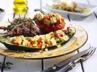 Lammkotelette und gefüllte Gemüse Rezept